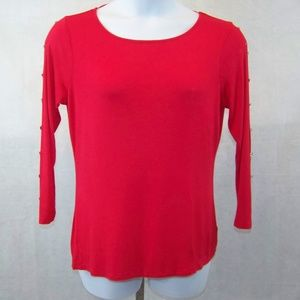 Cable & Gauge Blouse Size XL Red 3/4 Sleeves